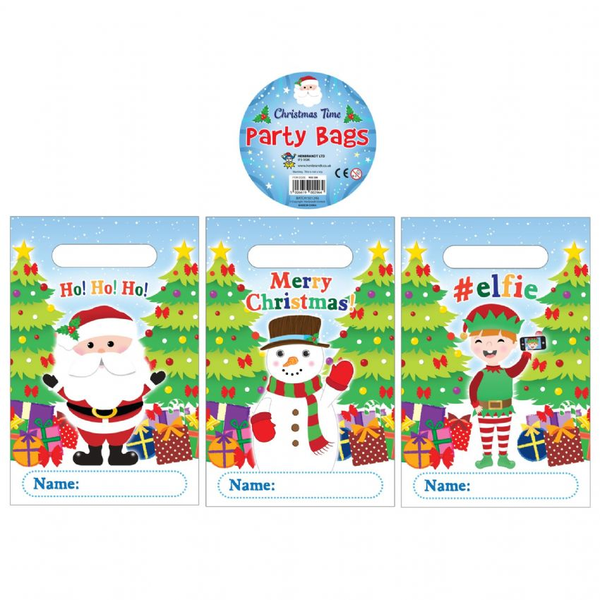 144 x Santa Snowman Elf Christmas Themed Plastic Party Loot Bags